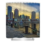 Fan Pier Boston Harbor Shower Curtain