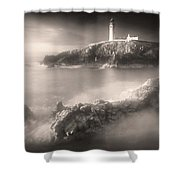 Fanad Lighthouse In The Mist Shower Curtain by Susan Maxwell Schmidt