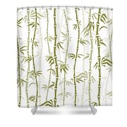 Fancy Japanese Bamboo Watercolor Painting Shower Curtain