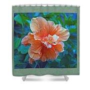 Fancy Peach Hibiscus Shower Curtain