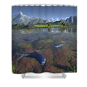 Fanged Enchodus Predatory Fish Shower Curtain by Walter Myers