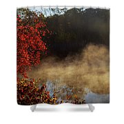 Fantastic Foggy River With Fresh Green Grass In The Sunlight. Shower Curtain