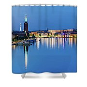 Fantastic Stockholm And Gamla Stan Reflection From A Distant Bridge Shower Curtain