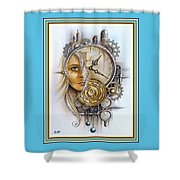 Fantasy Art - Time Encaptulata For A Woman's Face, Clock, Gears And More. L A S With Ornate Frame. Shower Curtain