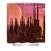 Fantasy City - 3d Render Shower Curtain