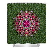 Fantasy Floral Wreath In The Green Summer  Leaves Shower Curtain