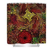 Fantasy Flowers Woodcut Shower Curtain