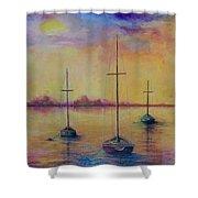 Fantasy Sailboats  Shower Curtain