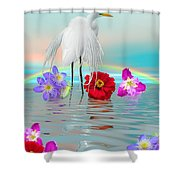 Fantasy Stork-flowers-rainbow On Ocean Shower Curtain