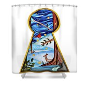 Fantasy Through The Keylock Shower Curtain