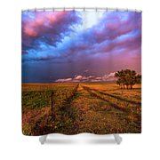 Far And Away - Open Prairie Under Colorful Sky In Oklahoma Panhandle Shower Curtain