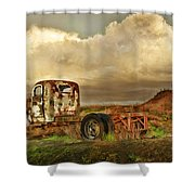 Far Rusted Truck Shower Curtain