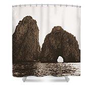 Faraglioni In Sepia Shower Curtain