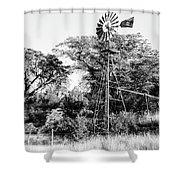 Faraway Windmill Shower Curtain