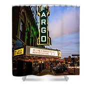 Fargo Theater And Downtown Along Broadway Drive Shower Curtain by Paul Velgos