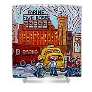 Farine Five Roses Montreal 375 Hometown Hockey Hotel Bonaventure Tour Bus Canadian Art C Spandau Art Shower Curtain