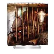 Farm - Cow - Milking Mabel Shower Curtain