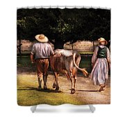 Farm - Cow - Time For Milking  Shower Curtain