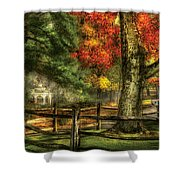 Farm - Fence - On A Country Road Shower Curtain