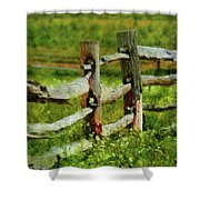 Farm - Fence - The Old Fence Post  Shower Curtain