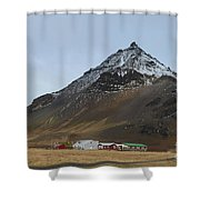 Farm At The Base Of Mt Stapafell Shower Curtain