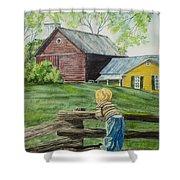 Farm Boy Shower Curtain by Charlotte Blanchard