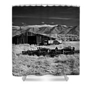 Farm Building In Infrared Shower Curtain