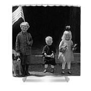 Farm Children And Flag Shower Curtain