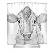 Farm Cow In Pointillism Shower Curtain