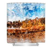 Farm Fall Colors Watercolor Shower Curtain by Michael Colgate