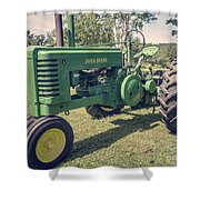 Farm Green Tractor Vintage Style Shower Curtain