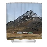 Farm Houses At The Base Of Mt Stapafell In Iceland Shower Curtain