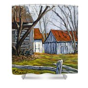 Farm In Berthierville Shower Curtain