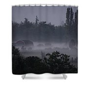 Farm In Fog Shower Curtain