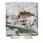 Farm In Winter Shower Curtain