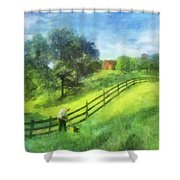 Farm On The Hill Shower Curtain