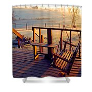 Farm Porch Morning Shower Curtain