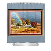 Farm Scene With Rainbow After Some Rains L A With Decorative Ornate Printed Frame. Shower Curtain