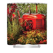 Farm - Tractor - A Pony Grazing Shower Curtain by Mike Savad