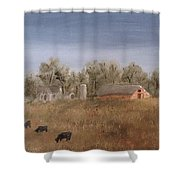 Farm With Cows  Shower Curtain