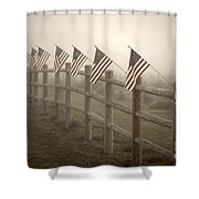 Farm With Fence And American Flags Shower Curtain