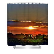 Farmer And A Sunset. Shower Curtain