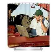 Farmer With Laptop And Cell Phone Shower Curtain