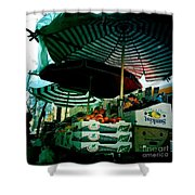 Farmers Market With Striped Umbrellas Shower Curtain