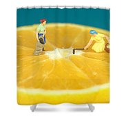 Farmers On Orange Shower Curtain by Paul Ge