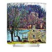 Farmhouse By The Lake Shower Curtain