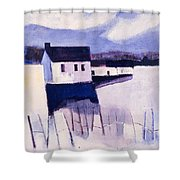 Farmhouse In Winter Shower Curtain