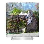 Farmhouse On A Cold Winter Morning. Shower Curtain
