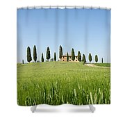 Farmhouse With Cypress Trees And Crops In Tuscany Shower Curtain
