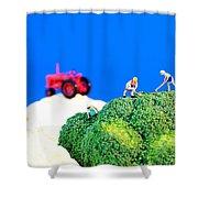 Farming On Broccoli And Cauliflower II Shower Curtain